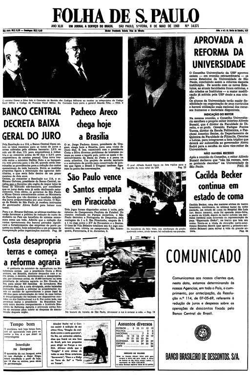 Primeira página da Folha de S.Paulo de 8 de maio de 1969