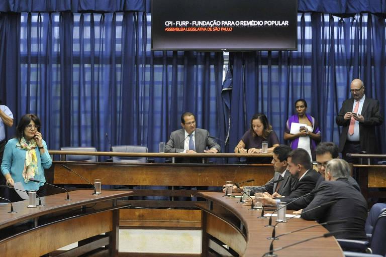 Reunião de instalação da CPI da Furp na Assembleia Legislativa de SP, com o presidente Edimir Chedid (DEM) à mesa