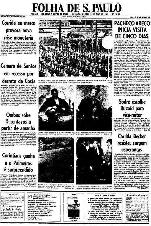 Primeira página da Folha de S.Paulo de 9 de maio de 1969