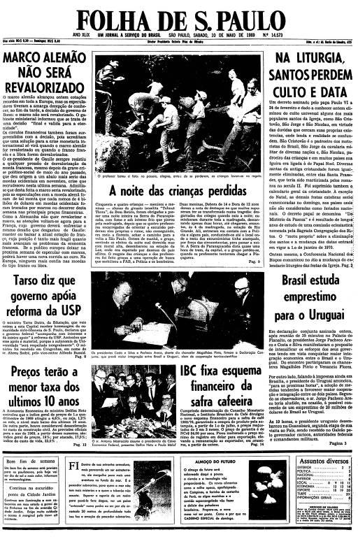 Primeira página da Folha de S.Paulo de 10 de maio de 1969