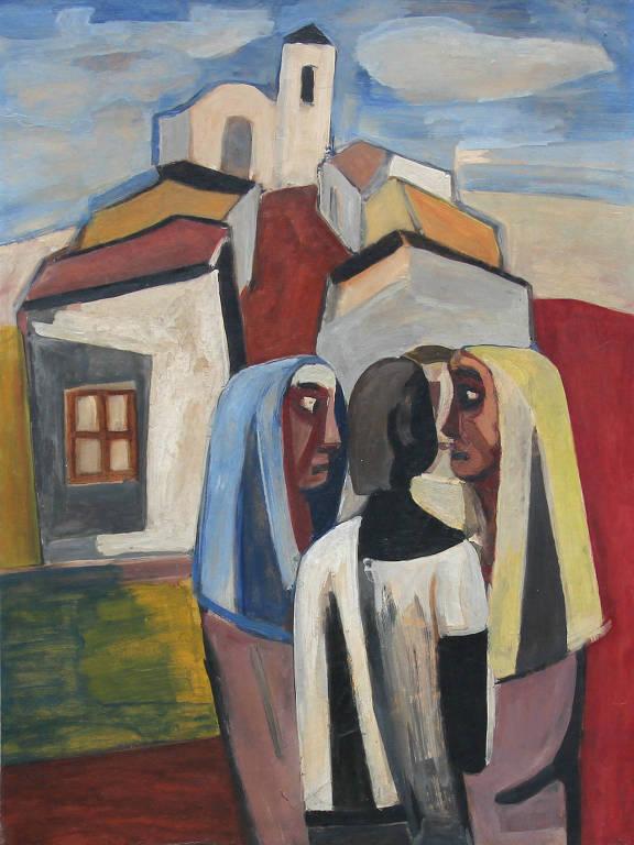 pintura de mulheres sob casas