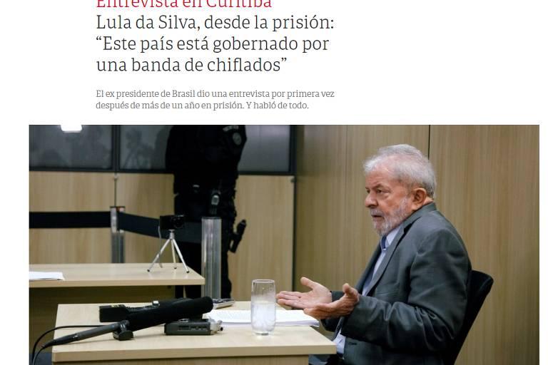 O jornal argentino Clarín traz a foto de Lula durante a entrevista