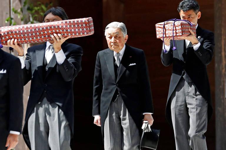 O imperador do Japão, Akihito, que renunciará ao trono nesta semana