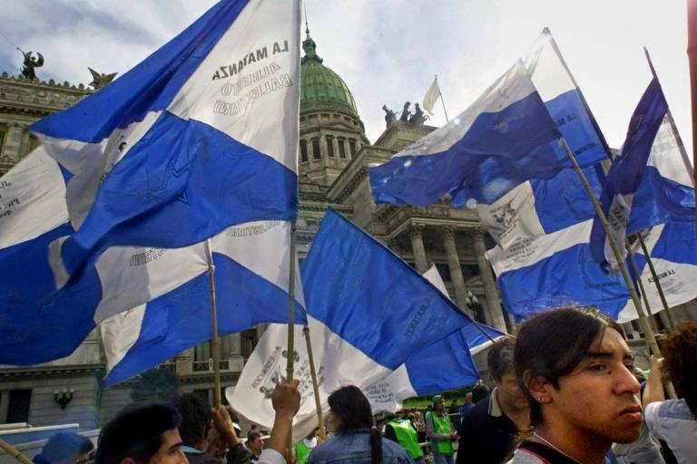Manifestação de trabalhadores na Argentina