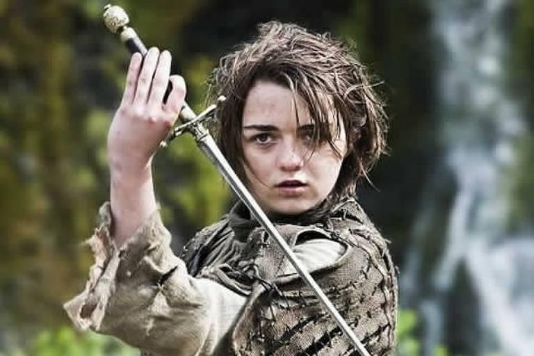 Arya Stark é interpretada por Maisie Williams na série Game of Thrones