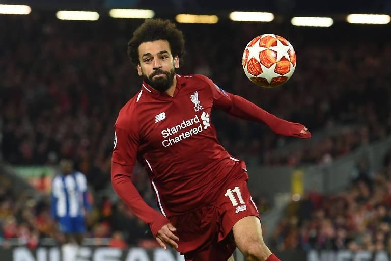O atacante egípcio Mohamed Salah é uma das atrações do Liverpool. O time inglês vai disputar com o Barcelona (ESP) uma vaga à decisão da Liga dos Campeões.