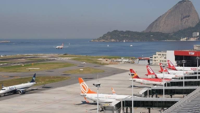 O aeroporto Santos Dumont, no Rio, um dos mais movimentados do país