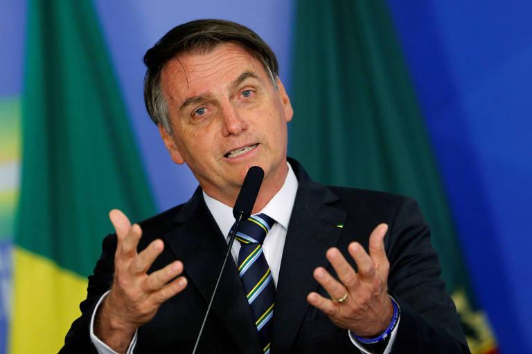O presidente Jair Bolsonaro (PSL) em cerimônia em Brasília