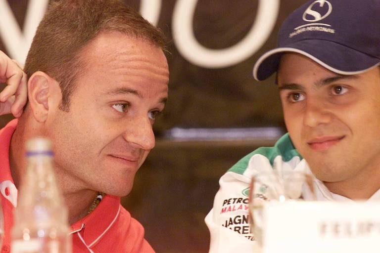 Rubens Barrichello e Felipe Massa durante entrevista em 2002