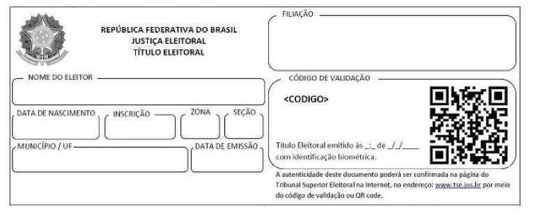 Modelo do novo título de eleitor, que terá QR Code ou código de validação no lugar da assinatura