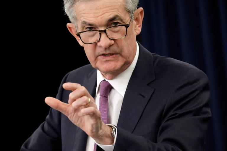 Presidente do Fed (banco central dos EUA) em coletiva de imprensa