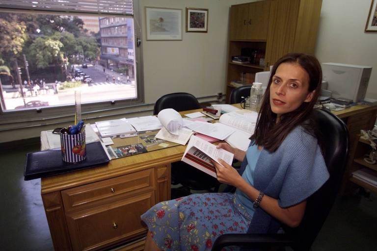 A então juíza federal Maria Cristina Barongeno em seu escritório em São Paulo
