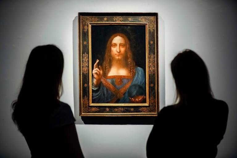A pintura Salvator Mundi, disposta em museu na França