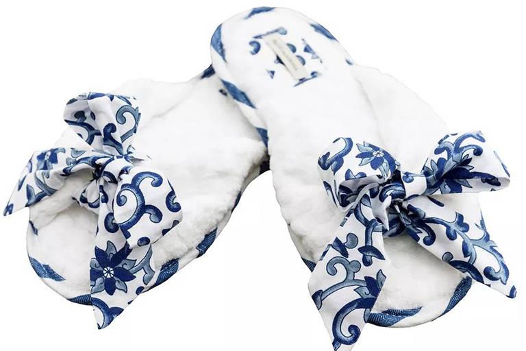 Pantufas Capadócia, de tecido, na Blue Gardenia
