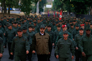 Venezuela's President Nicolas Maduro takes part in a ceremony at a military base in Caracas