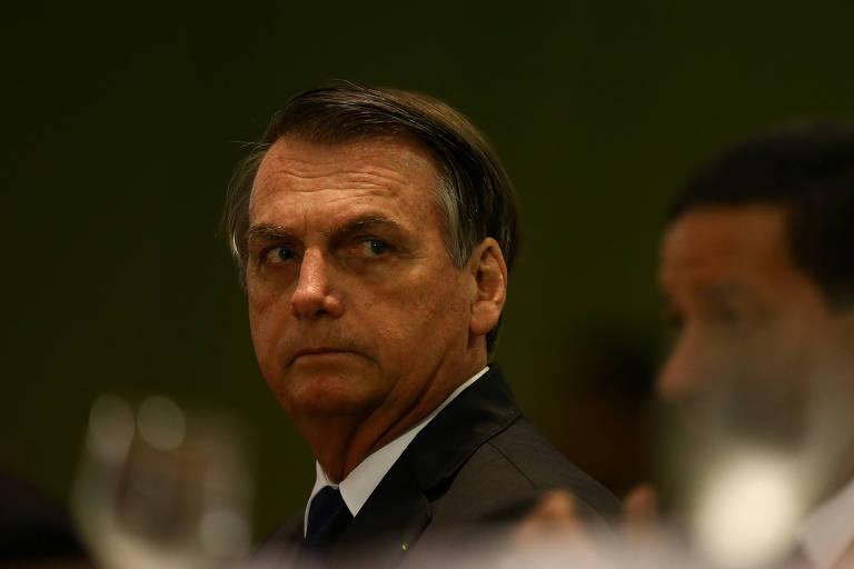 O presidente Jair Bolsonaro e o vice Hamilton Mourão durante a cerimônia em Brasília