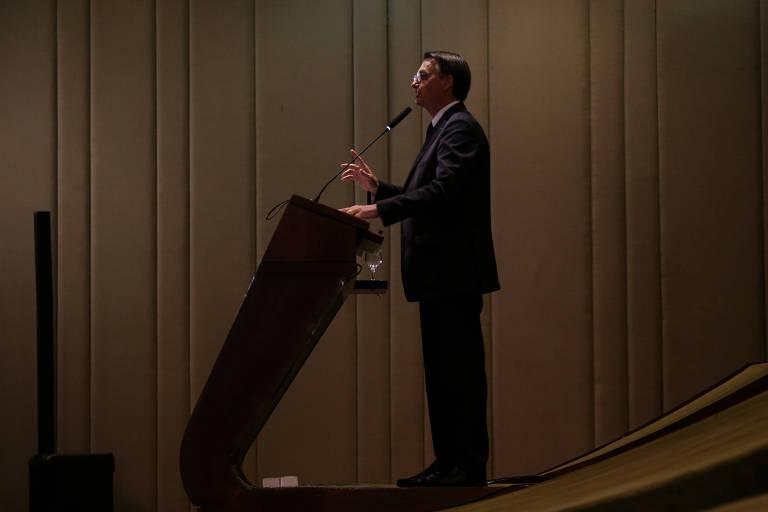O presidente Jair Bolsonaro durante cerimônia de formatura de diplomatas da turma Aracy de Carvalho Guimarães Rosa