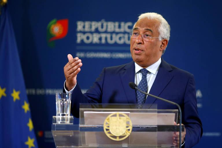 O premiê de Portugal, António Costa, faz pronunciamento no Palácio São Bento, em Lisboa