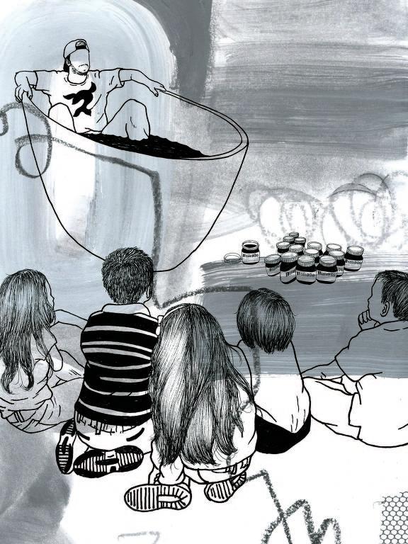 crianças vendo luccas neto na banheira de nutella