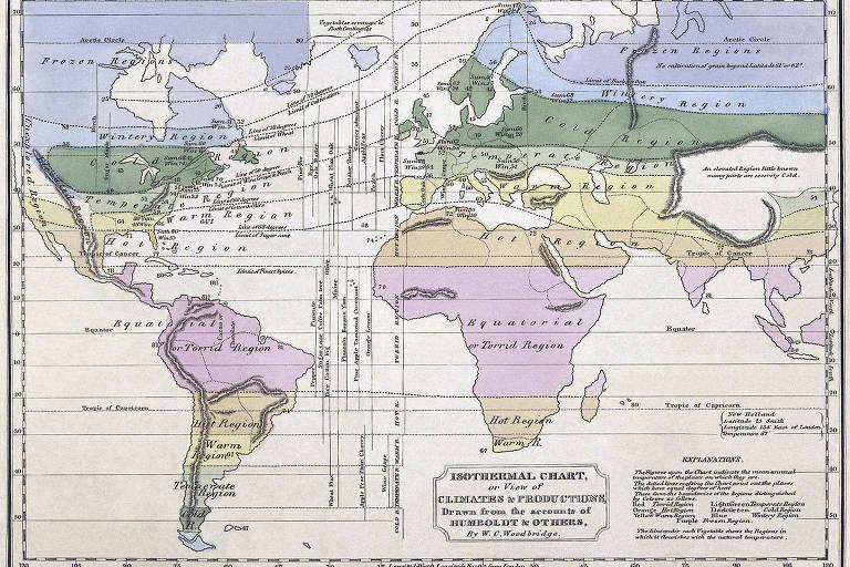 Mapa com zonas climáticas
