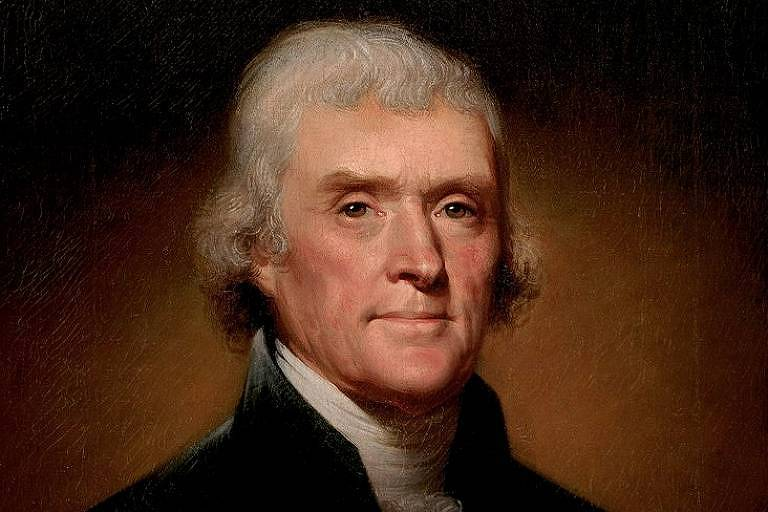 Retrato em pintura de Thomas Jefferson