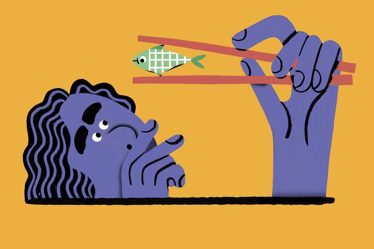 Ilustração de pessoa segurando um peixe com um hashi