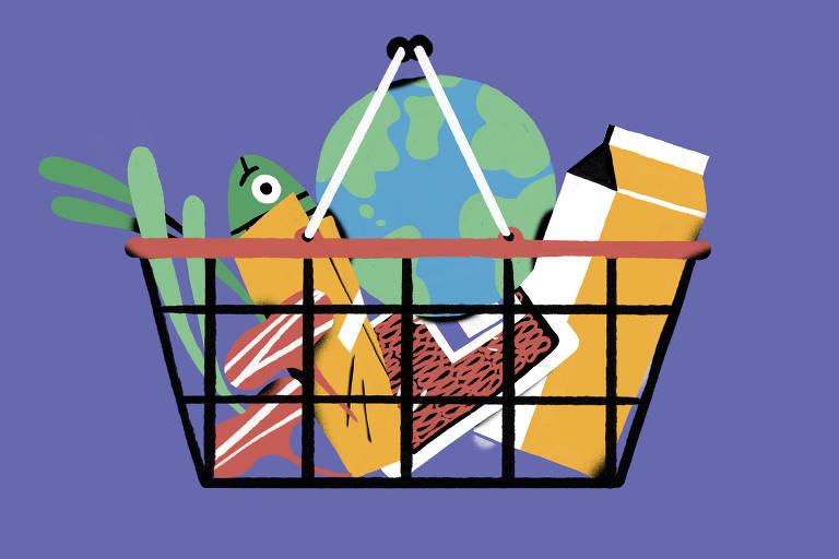 Ilustração com Terra dentro de sacola de compras