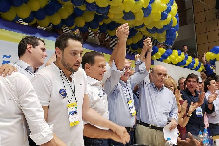 Líderes do PSDB participam de convenção estadual do partido na Assembleia Legislativa, em São Paulo