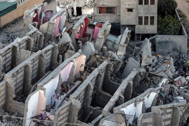 Prédio destruído por bombardeio na cidade palestina de Gaza, no início de maio de 2019