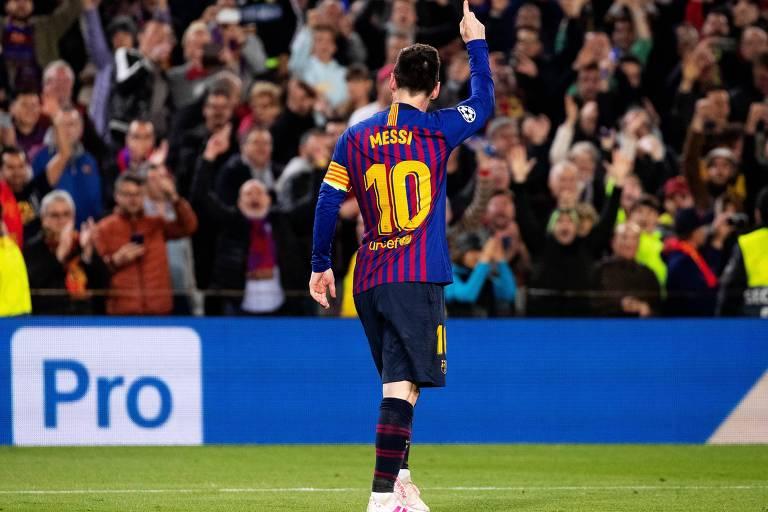 Messi comemora seu segundo gol contra o Liverpool na partida de ida das semifinais da Champions League
