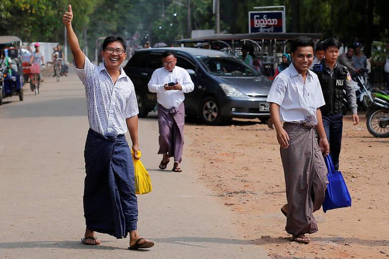 Após 511 dias presos em Mianmar, jornalistas da Reuters são liberados