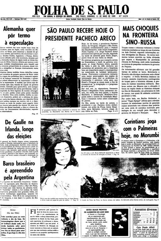 Primeira página da Folha de S.Paulo de 11 de maio de 1969