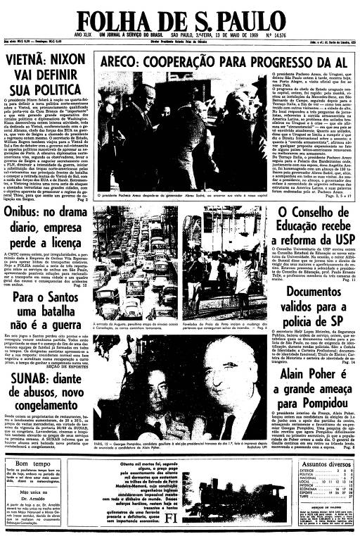 Primeira página da Folha de S.Paulo de 13 de maio de 1969
