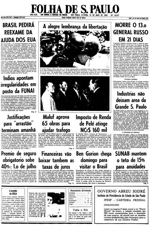 Primeira página da Folha de S.Paulo de 14 de maio de 1969