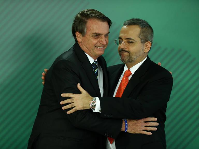 O presidente Jair Bolsonaro durante cerimônia de posse do ministro da Educação, Abraham Weintraub, no Palácio do Planalto, em Brasília (DF)