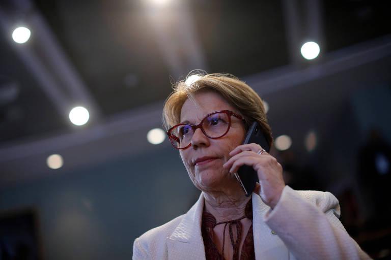 A ministra da Agricultura, Tereza Cristina, que embarcou em viagem para a Ásia