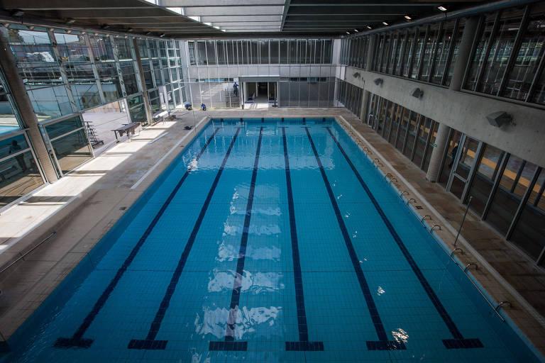 Uma das piscinas no Sesc Guarulhos