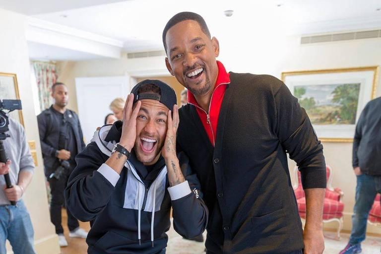 """Will Smith visita Neymar durante divulgação do filme """"Aladdin"""", em Paris"""