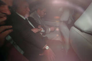Former Brazil's President Michel Temer leaves his home after a Brazilian court ordered that he be jailed again over an ongoing investigation into allegations of corruption, in Sao Paulo