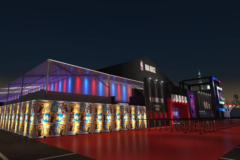 Projeto da fachada da NBA House, que será montada no Shopping Eldorado, em São Paulo