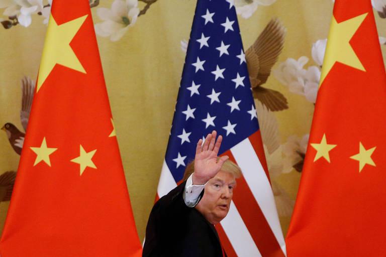 O presidente Donald Trum durante encontro com o dirigente Xi Jinping em Pequim, em 2017