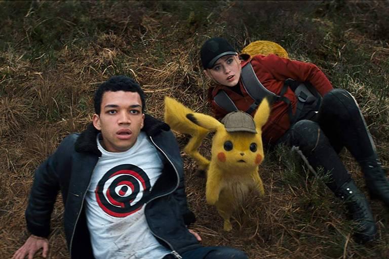 Justice Smith e Kathryn Newton em 'Pokémon: Detetive Pikachu'