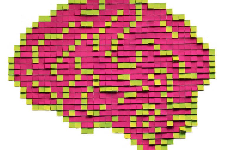 Desenho de um cérebro feito com post-its