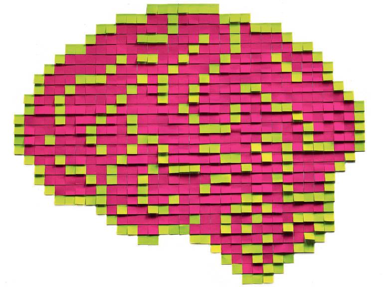Desenho de cérebro formado por post-its rosas e amarelos