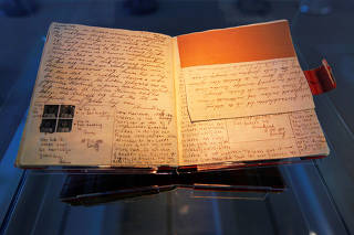 FILE PHOTO: The first diary of Anne Frank sits on display in the Anne Frank House in Amsterdam