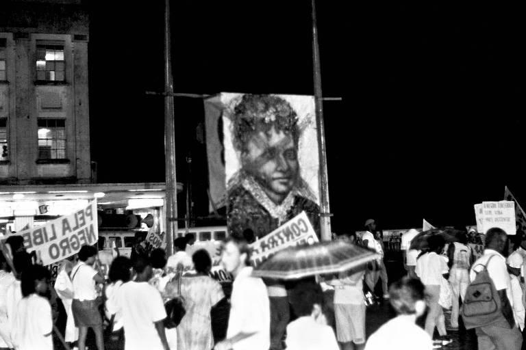 Ato do movimento negro em 1988, na Bahia