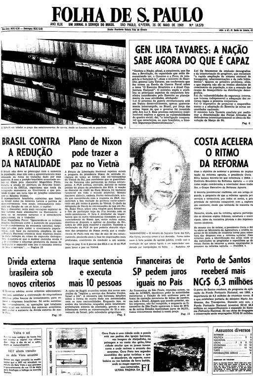 Primeira página da Folha de S.Paulo de 16 de maio de 1969