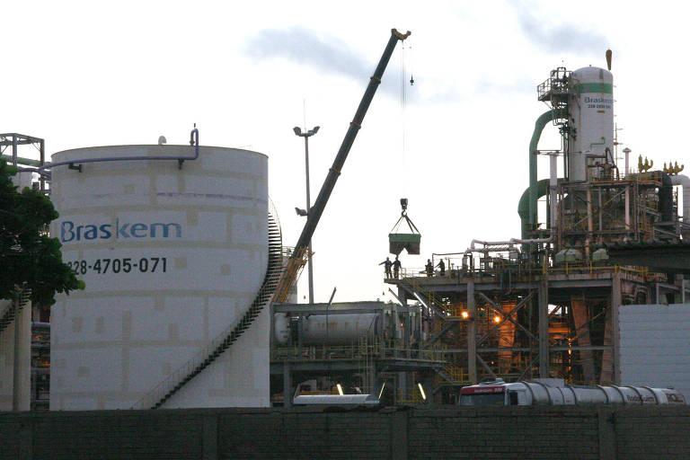 Fábrica de cloro da Braskem, no bairro de Pontal da Barra, em Maceió (AL)