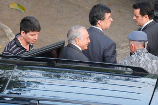 Brazil's President Michel Temer arrives at the Battalion of the Military Police after being transfered from the Federal Police, in Sao Paulo