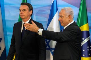 Prime Minister Benjamin Netanyahu and Brazilian President Jair Bolsonaro meet at Netanyahu's office in Jerusalem